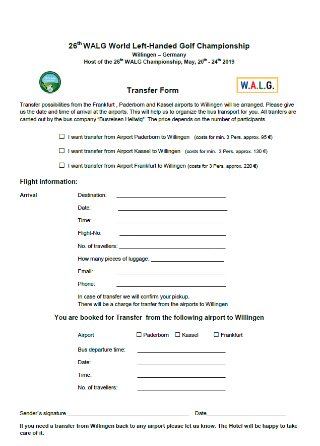Bus Transfer Form